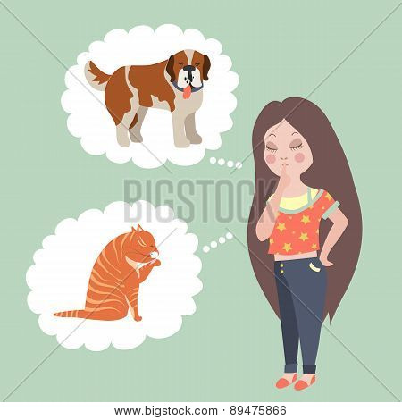 Girl thinking whom to choose. Cat or dog