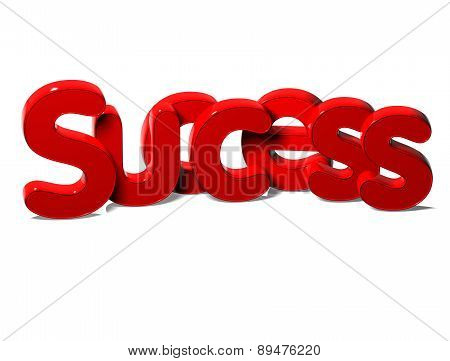 3D Red Word Success On White Background