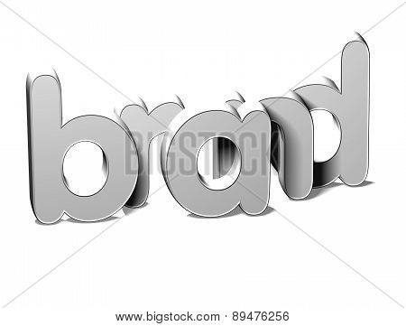 3D Silver Word Brand On White Background