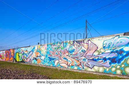 Graffiti Patterns On Old Gray Concrete Wall
