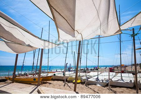 Awnings In Sails Shape Covering Relax Area