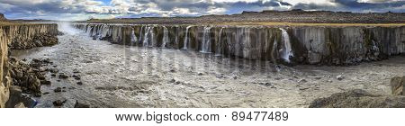 Panoramic view of Selfoss waterfall on Jokulsa a Fjollum river in Iceland
