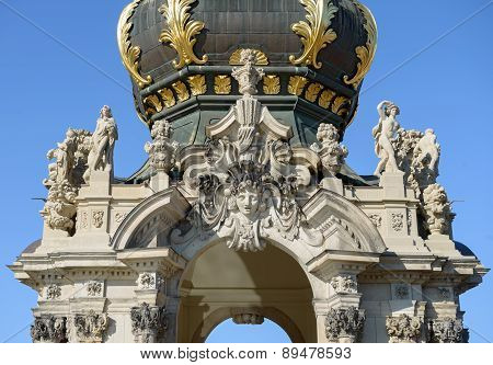 Top Part Of Crown Gate Above Terrace, Zwinger, Dresden, Germany.