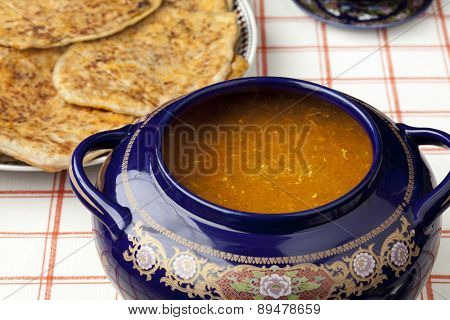 Moroccan harira soup and filled pancakes for ramadan