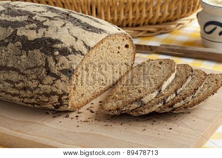 Traditional fresh german Krustenbrot and slices