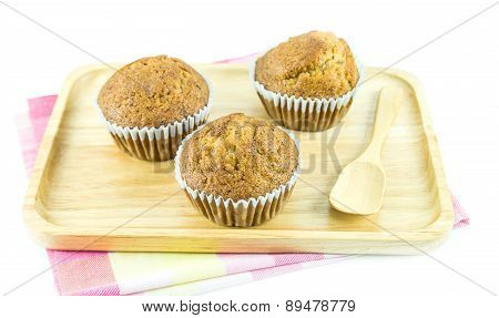 Banana Cup Cake In Wooden Plate