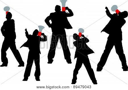 Business Men Shouting By Megaphone