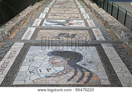 Mosaic Decoration On The Garden Steps Walkway