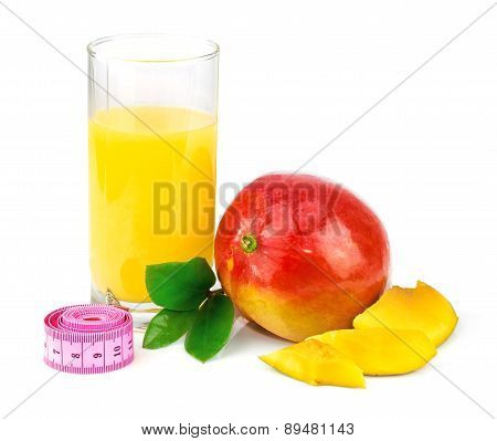 Mango Juice, Mango Fruit With Centimeter And Green Leaves