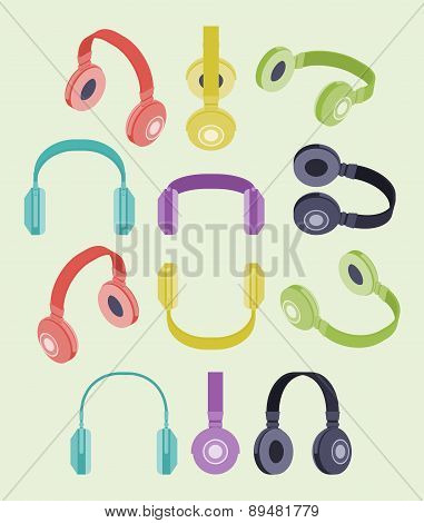 Isometric colored headphones