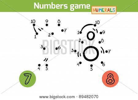 Numbers Game (numerals): Seven, Eight. Numbers From One To Ten