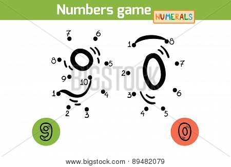 Numbers Game (numerals): Nine, Zero. Numbers From One To Ten
