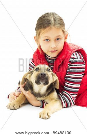 Little Girl  Hugs Dog