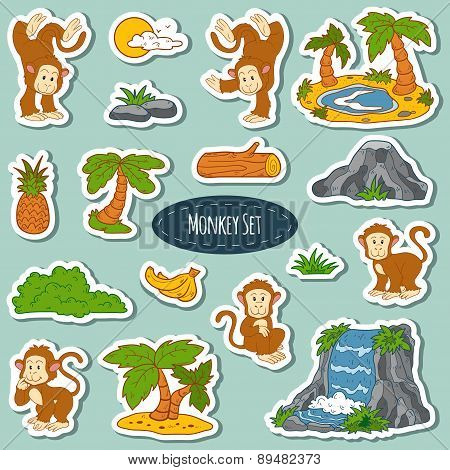Set Of Various Cute Monkey, Vector Stickers Of Animals And Items Of Nature