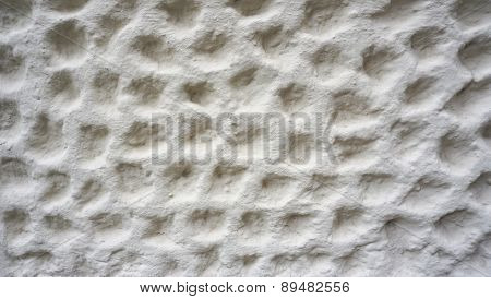Bubble Texture On White Cement Wall Finishing