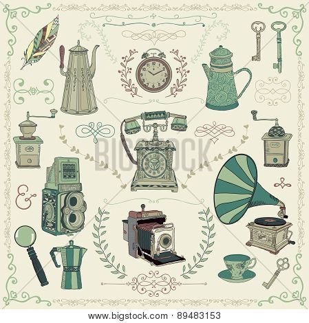 Vintage Colorful Icons, Objects and Design Elements