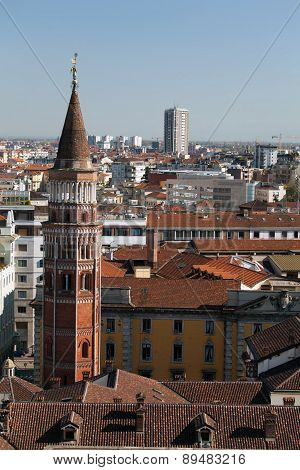 Bell Tower Of The San Gottardo Church In Milan