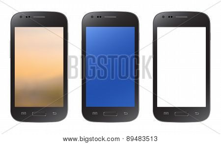 Black Smartphone Collection With Blurry, Blue And Empty Screen, Isolated On White Background