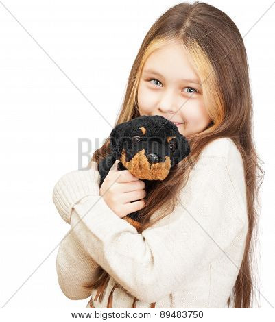 Little Girl With  Toy Dog