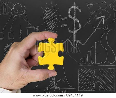 Hand Holding Gold Jigsaw Puzzle Piece With Business Concept Doodles