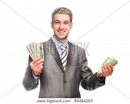 Lucky Grey-haired Man With Money