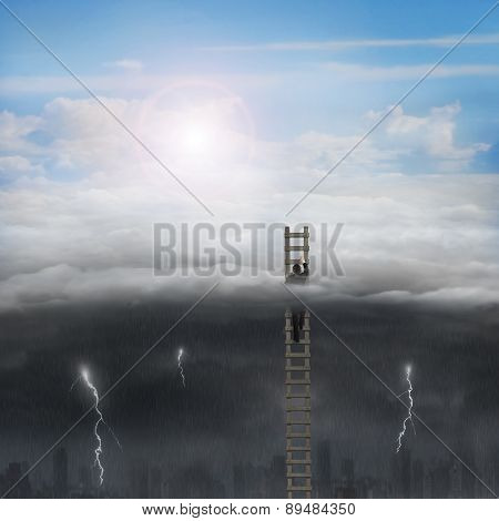 Businessman Climbing On Wooden Ladder With Sunny Sky Cloudy Lightning
