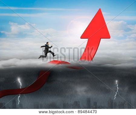 Businessman Running Arrow Up Bending Trend Line With Sunny Stormy