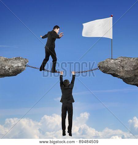Businessman Balancing On Broken Chain Another Man Holding Toward Flag