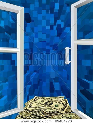 Opened Window To The Blue Abstraction And Dollars