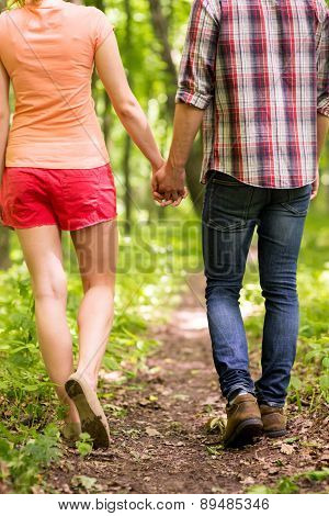 Walking In A Park Together.