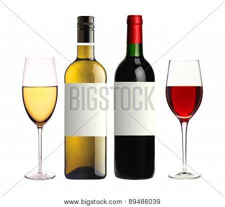 Bottles Of Red And White And Glasses Wine Isolated On White