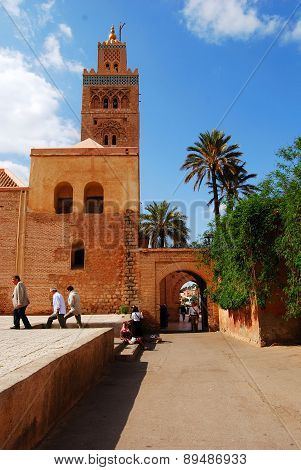 Koutoubia mosque, Marrakech, Morocco - April 11, 2015: The largest mosque in Marrakech.