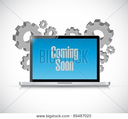Coming Soon Tech Computer Sign Concept