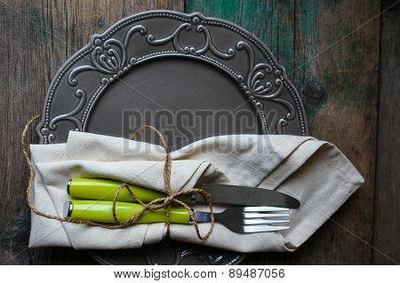 Table Setting On The Old Wooden Table