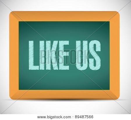 Like Us Board Sign Concept Illustration