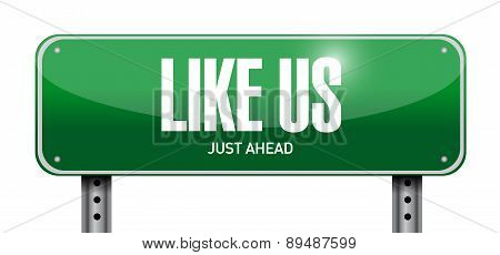 Like Us Street Sign Concept Illustration