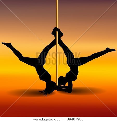 Two Pole Dancers With Long And Short Hair  On The Pole  On The Yellow & Red Background. Vector