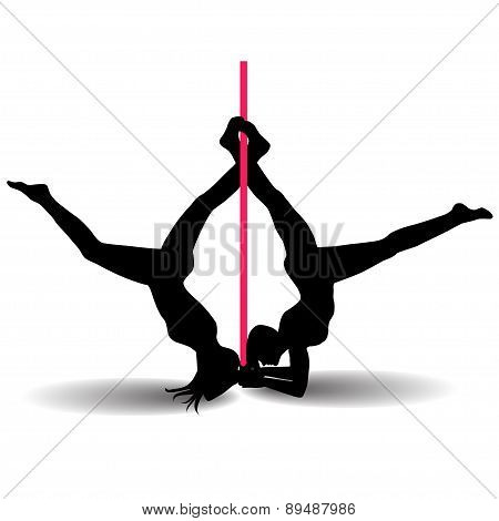 Two Pole Dancers With Long And Short Hair  On The Pole  Isolated On The White Background. Vector