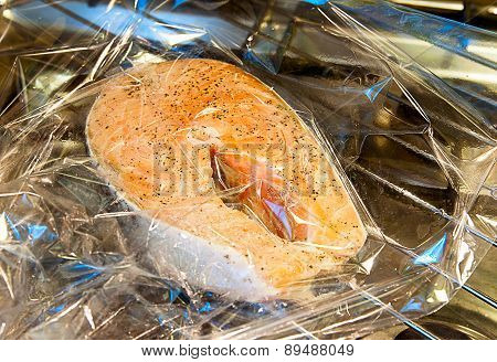Salmon in the package for baking
