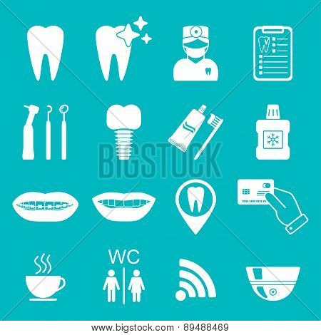 Dental Icons. Silhouette. White Color. Vector