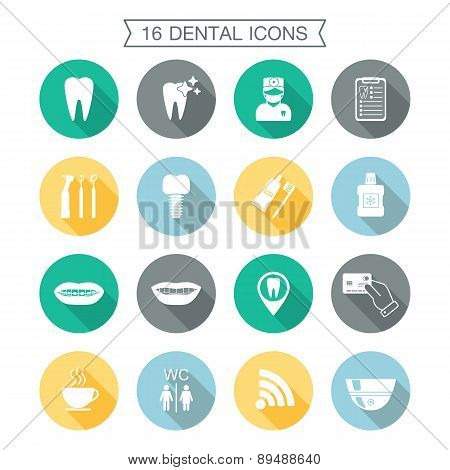 Set Of Dental Icons. Silhouette With Shadow. White. Flat Design. Vector