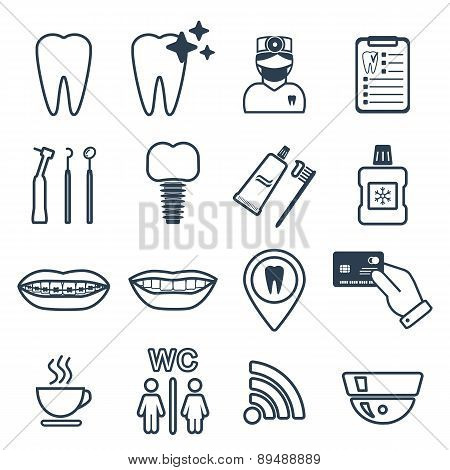 16 Line Of Dental Icons. Isolated. Vector