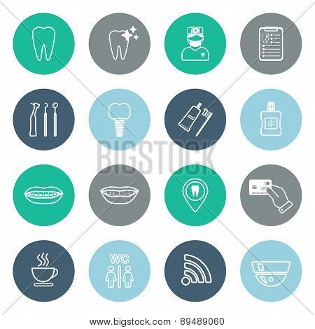 Set Of Linear Dental Icons. Flat Design. Vector