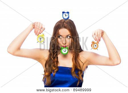 Woman With Wrong Alarm Clocks
