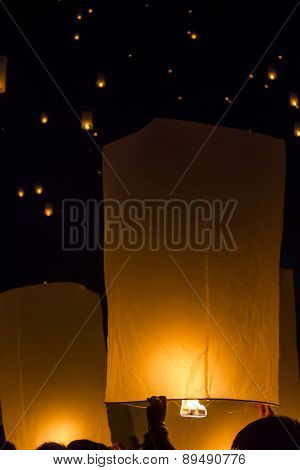 Floating Lantern In Yee Peng Festival
