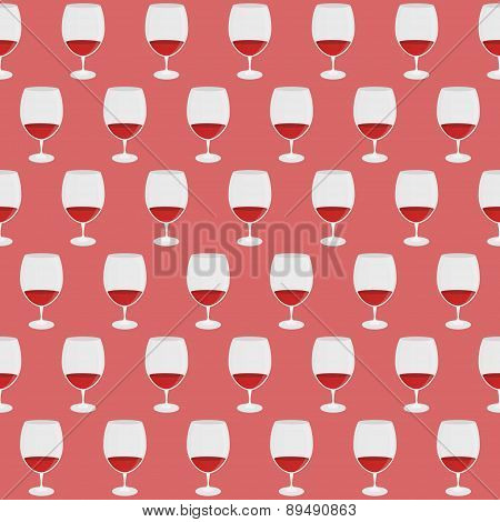 Vintage Pattern With Red Wine Glass Silhouettes. Vector Illustration.