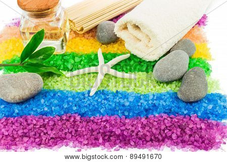 Sea Salt With Shell, Stones, Aroma Oil And Bath Towel