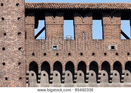 Wall Of The Castello Sforzesco In Milan