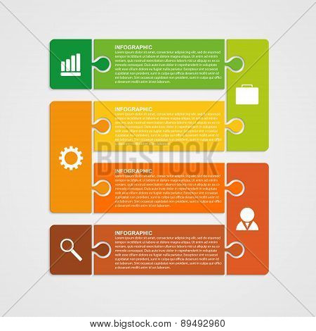 Puzzle Piece Infographics Business Concept. Vector Illustration.