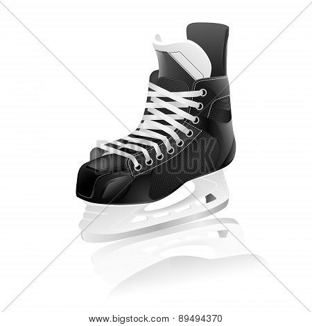 Vector Ice Hockey Skate With Reflection, Isolated.